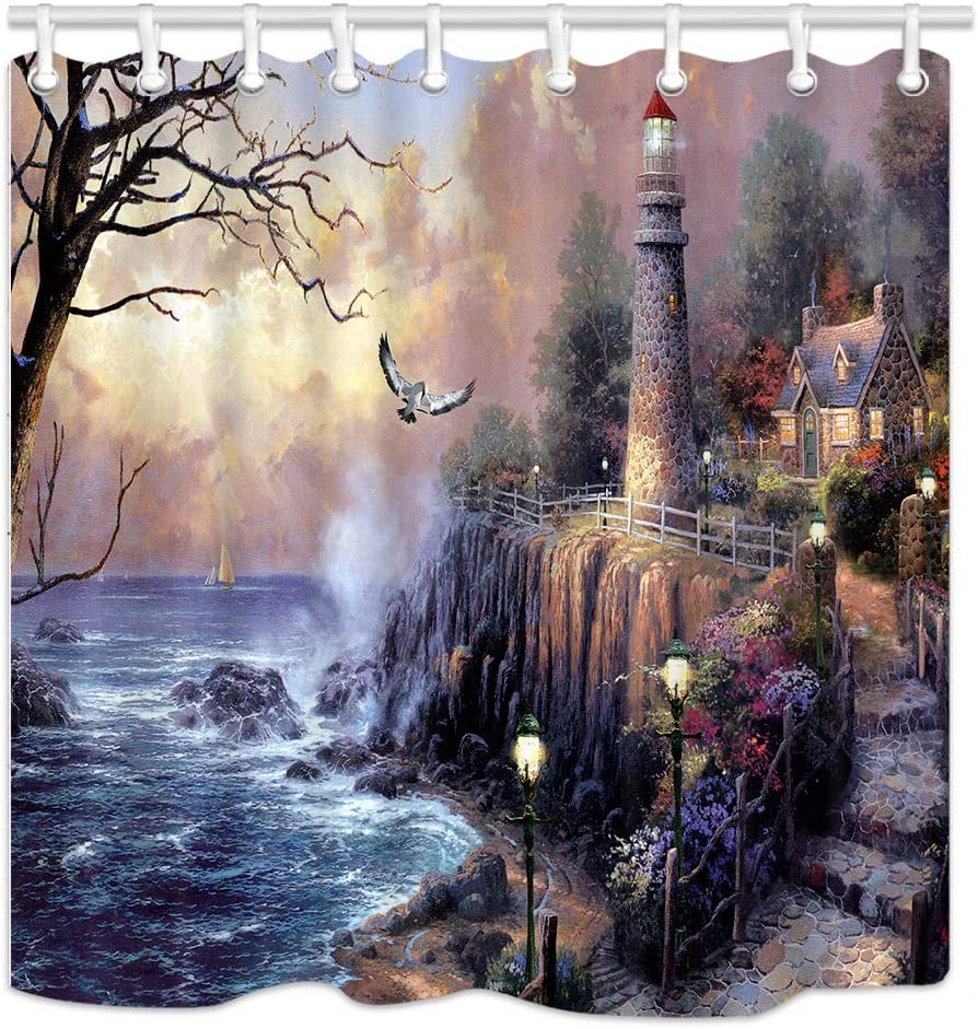 NYMB Lighthouse Shower Curtains, Painting Lighthouse by Ocean Coast with Wooden House, Polyester Fabric Waterproof Bathroom Curtains, Shower Curtain Hooks Included, (69X70in)