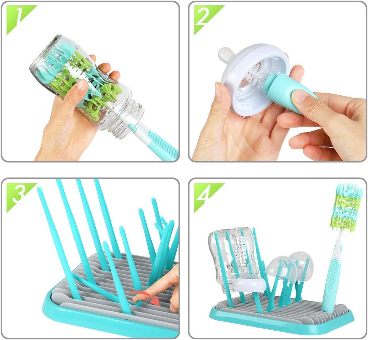 Estante de secado de botellas de beb/é antibacteriano secador verde almacenamiento de cubiertos de beb/é para biberones tazas de bebe y pezones soporte de vajilla para platos de beb/é