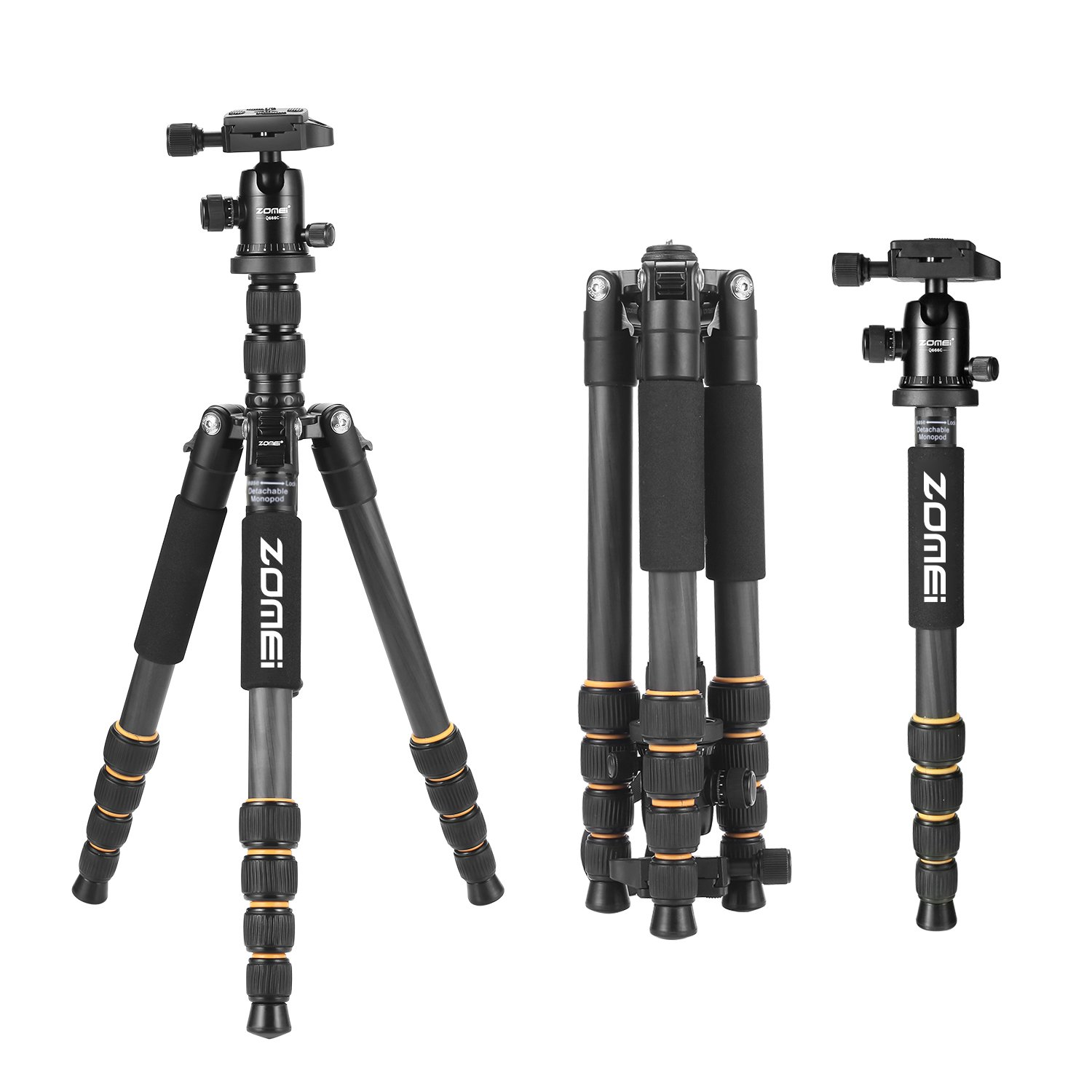 ZOMEI Carbon Fiber Q666C Tripod Heavy Duty Lightweight Travel with 360 Degree Ball Head Compact for Canon Sony, Nikon, Samsung, Panasonic, Olympus, Kodak, Fuji, Cameras and DSLR by ZOMEI