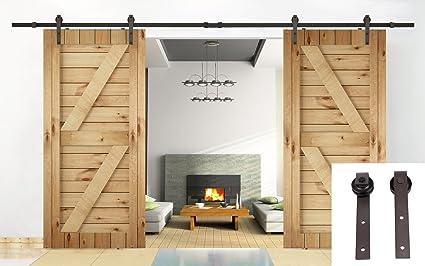 Erfect 13 FT Double Sliding Barn Door Sliding Track U0026quot;Ju0026quot; Style  Hardware Sets