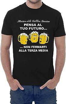 Fermento Italia T-shirt uomo divertente PENSA AL TUO FUTURO, NON FERMARTI ALLA TERZA MEDIA - maglietta umoristica 100% cotone JHK