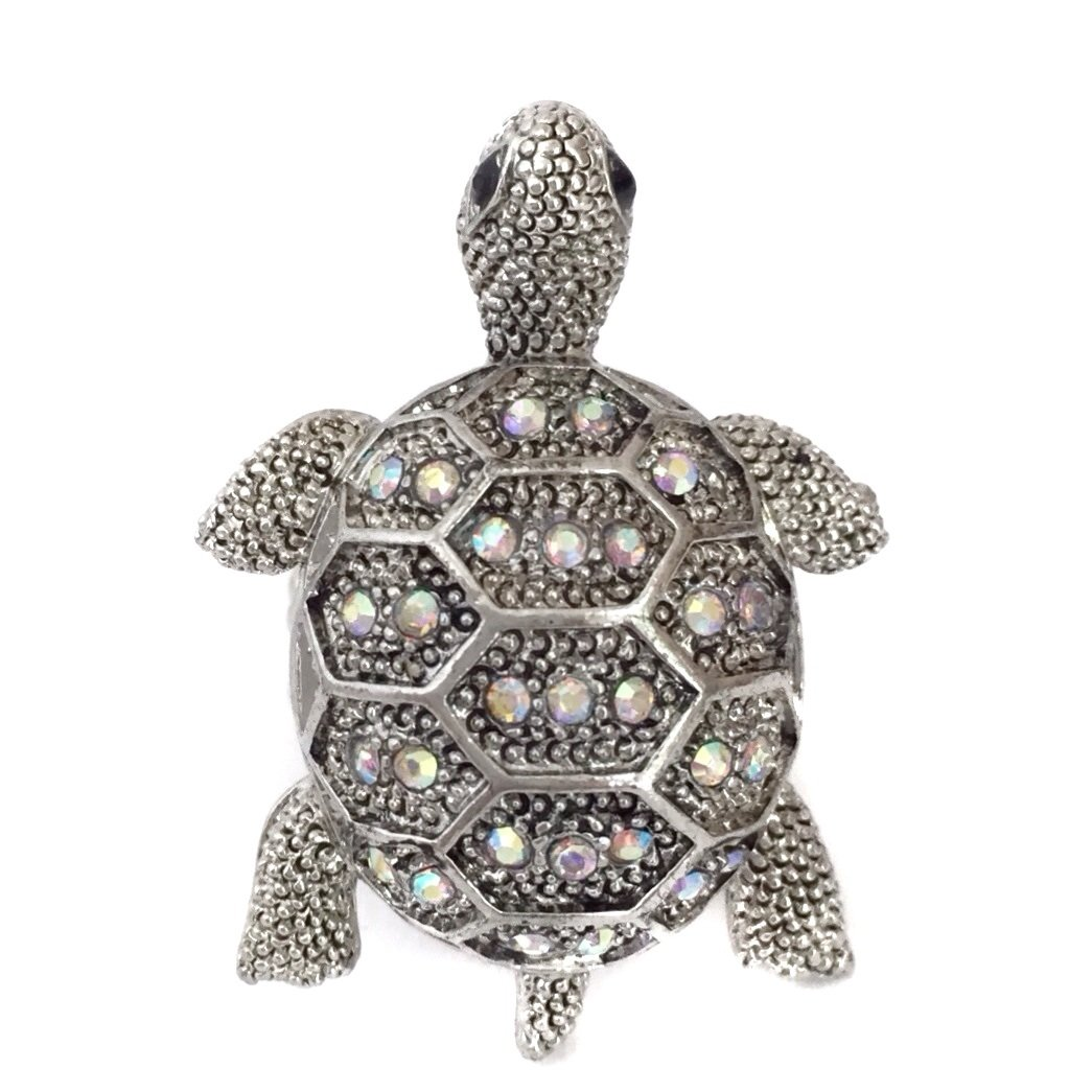 AB Rhinestone Turtle Silver Tone Bling Stretch Ring