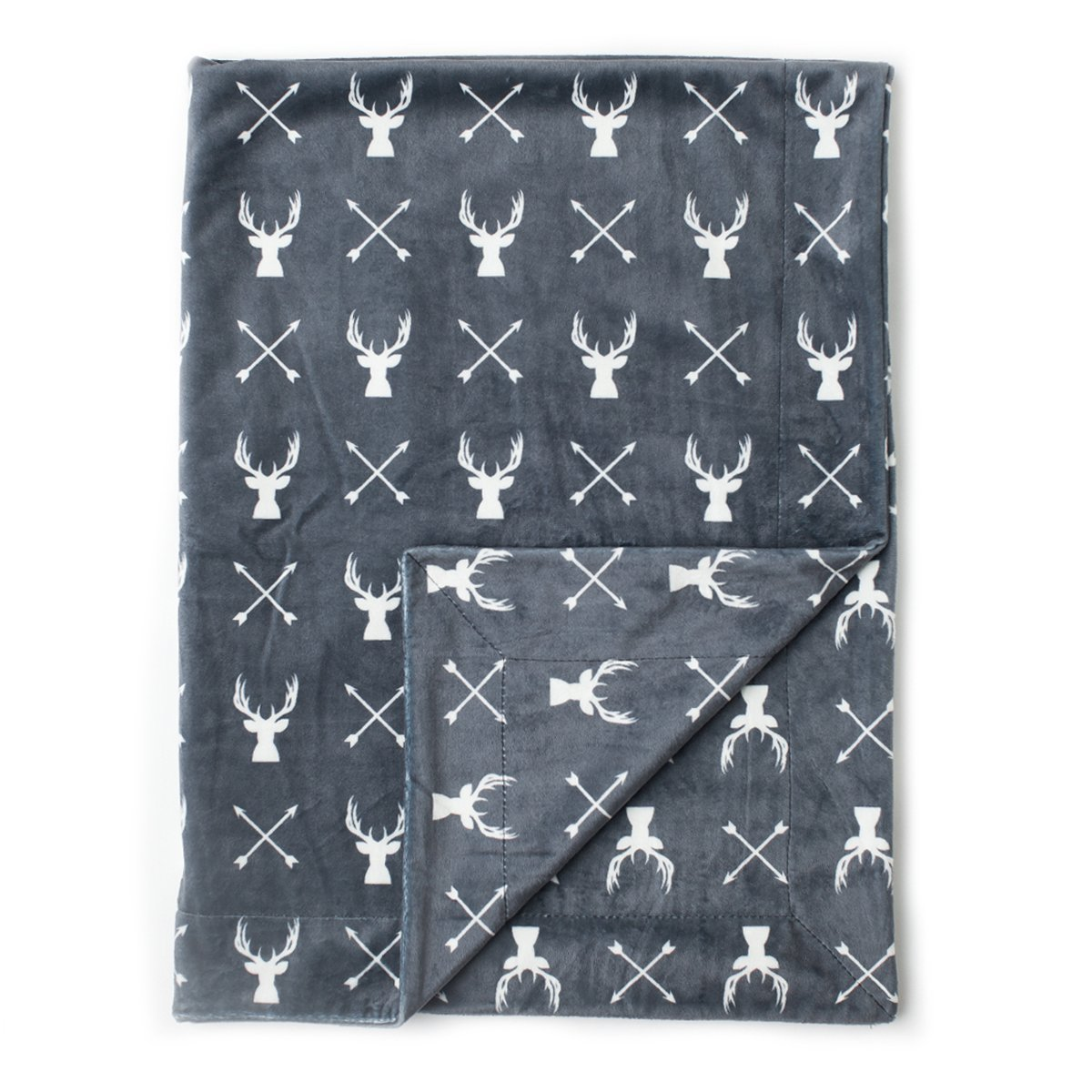 Kids N' Such Minky Baby Blanket 30' x 40' - Deer - Soft Swaddle Blanket for Newborns and Toddlers - Best for Boy or Girl Crib Bedding Nursery and Security - Plush Double Layer Fleece Fabric BLKT-STAG