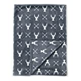 """Kids N' Such Minky Baby Blanket 30"""" x 40"""" - Deer - Soft Swaddle Blanket for Newborns and Toddlers - Best for Boy or Girl Crib Bedding, Nursery, and Security - Plush Double Layer Fleece Fabric"""