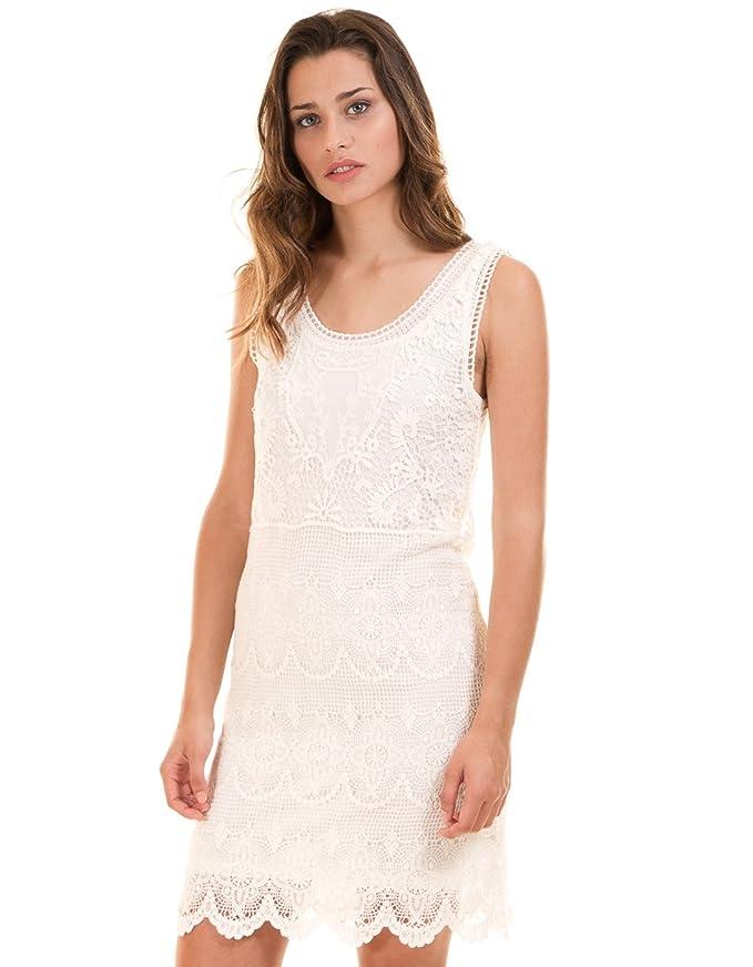 Vila Vestido ibicenco Crochet Blanco Vimaya Clothes (L - Blanco ...