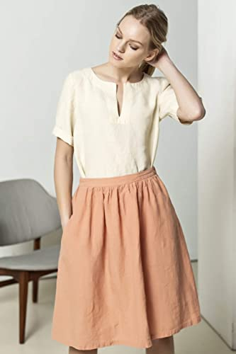 ffced0547997 Amazon.com: Peach linen skirt, pleated skirt, handcrafted in Europe:  Handmade