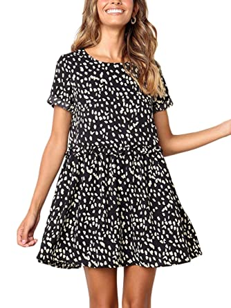 94725f68c15b MOPOOGOSS Dress for Women Short Sleeve Round Neck Casual Loose Fit Midi  Swing Dressess Black S