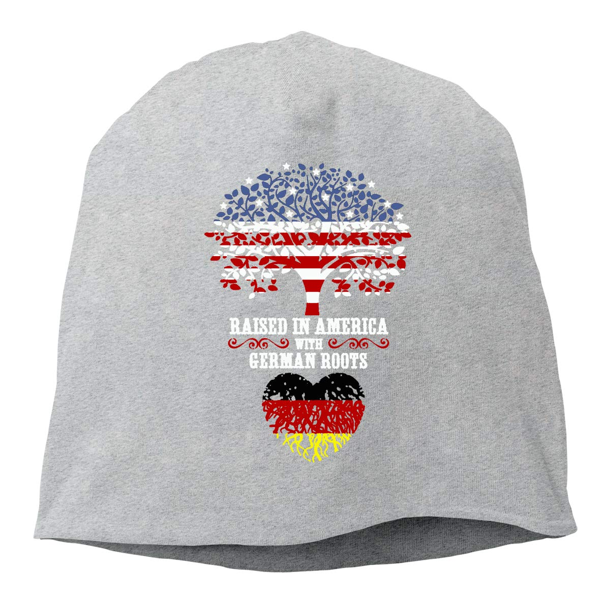 Raised in America with German Roots Unisex Knitted Hat Beanie Hat Warm Hats Skull Cap Beanie Hat