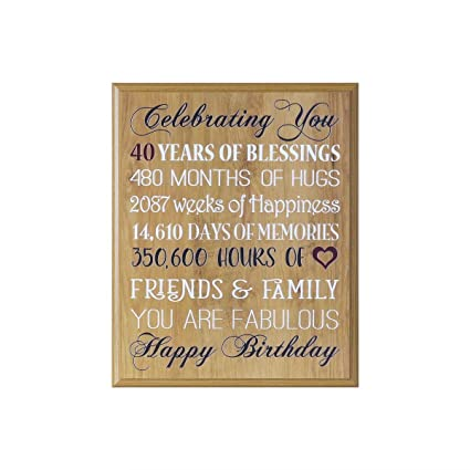 LifeSong Milestones 40th Birthday Gifts For Women Men Husband Wife Happy Gift Ideas Best