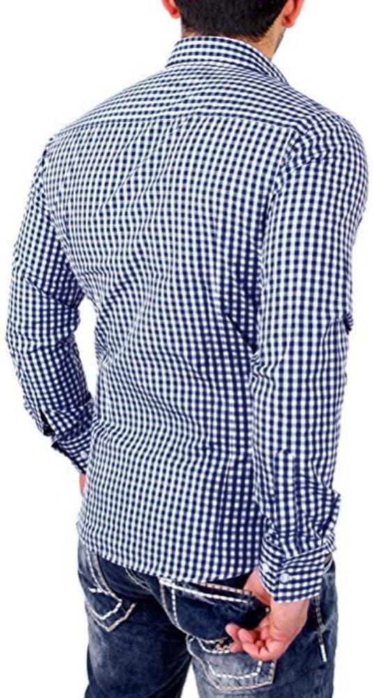 Camisa a Cuadros de los Hombres Camisa de los Hombres de Negocios de Manga Larga Slim Fit por Internet: Amazon.es: Ropa y accesorios