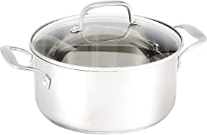 AmazonBasics Stainless Steel Dutch Oven with Lid, 5-Quart
