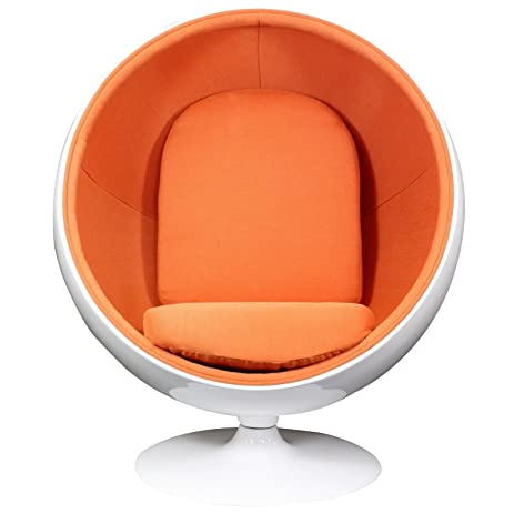 amazon com modway eero aarnio style ball chair in orange kitchen