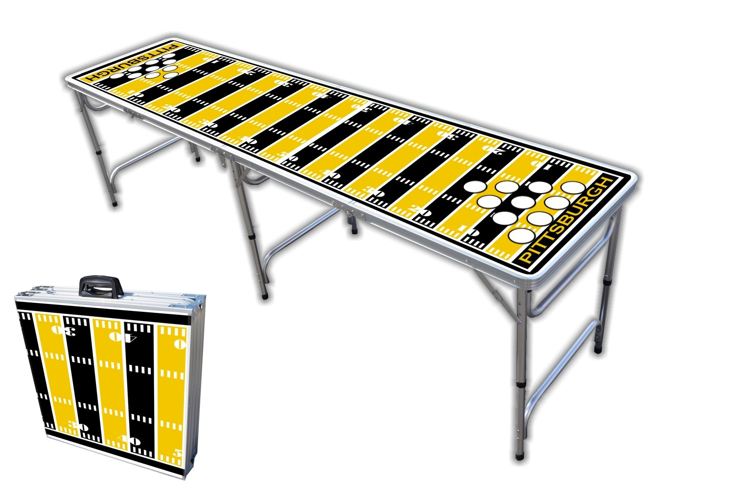 8-Foot Professional Beer Pong Table w/Holes - Pittsburgh Football Field Graphic by PartyPongTables.com