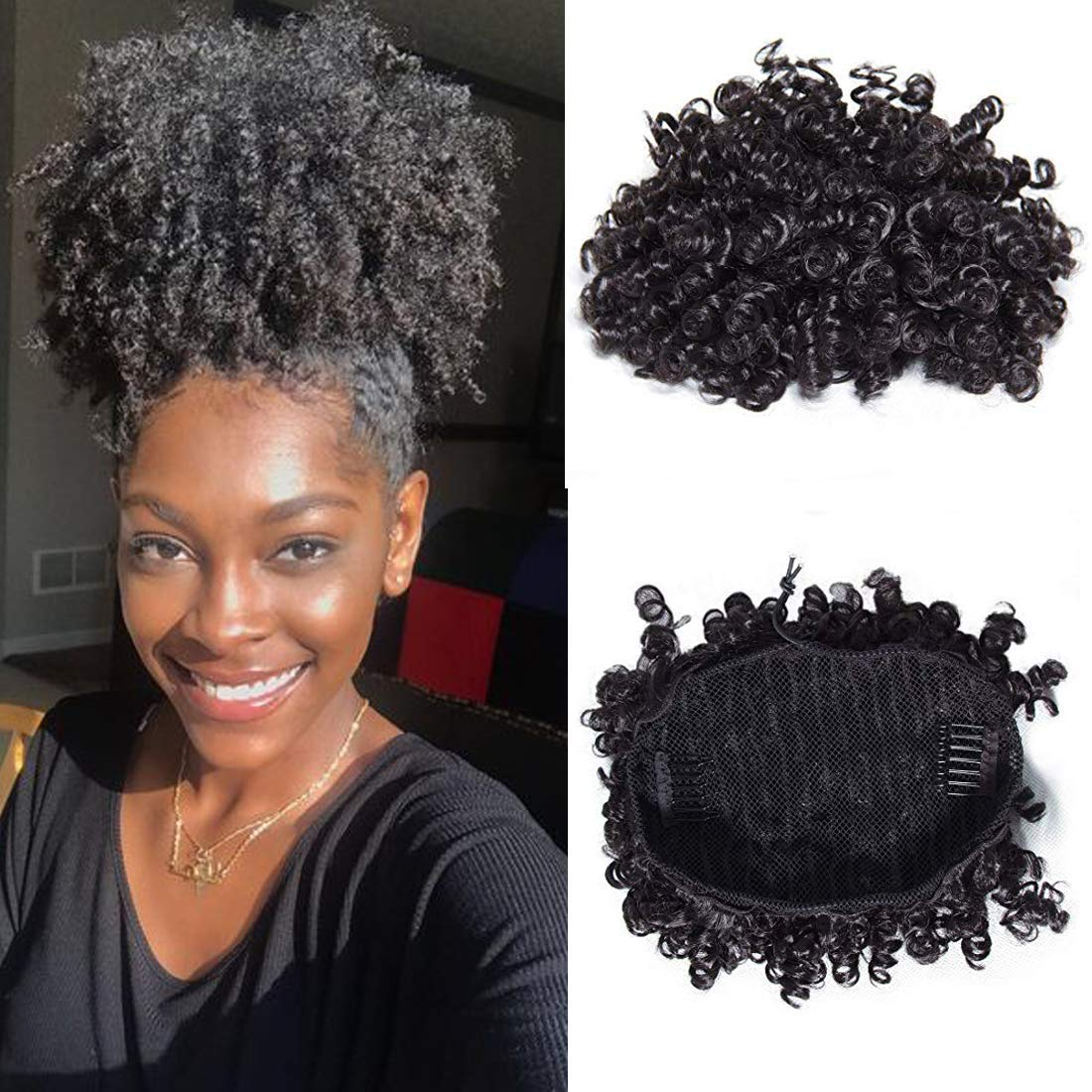 Julia Hair Afro Curly Human Hair Puff Drawstring Ponytail Hairpieces Kinky Curly Wrap Drawstring Bun Ponytails Hair Extensions for Women with Clips Natural Black Color (8 inch)