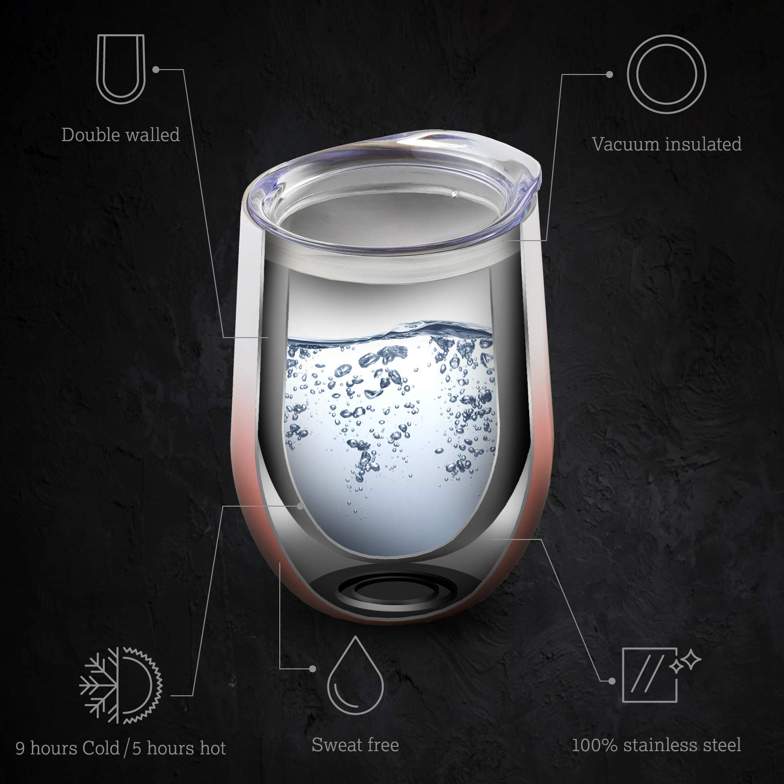 Wine Tumbler 12 oz Double-insulated Stemless Glass, 2 Sets Stainless Steel Tumblers Cup with Lids for Wine, Coffee, Drinks, Champagne, Cocktails by Your Happy Day (Image #5)