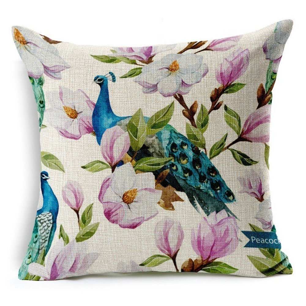 Bluelans Linen Bird Throw Pillow Case Sofa Cushion Cover Home Decor