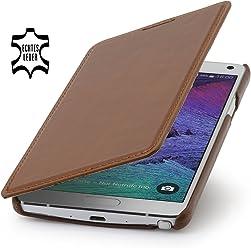 StilGut® Book Type Case, custodia con funzione di supporto in vera pelle a libro per Samsung Galaxy Note 4, cognac