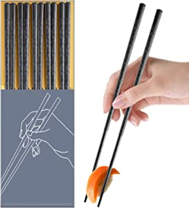 5 Pairs Fiberglass Chopsticks, Reusable Chop Sticks Dishwasher Safe Japanese Chinese Style, Chopsticks Set 9.5 Inches Anti-Slip Textured Tip with Box, Easy Grip for Sushi Noodles Ramen Salad