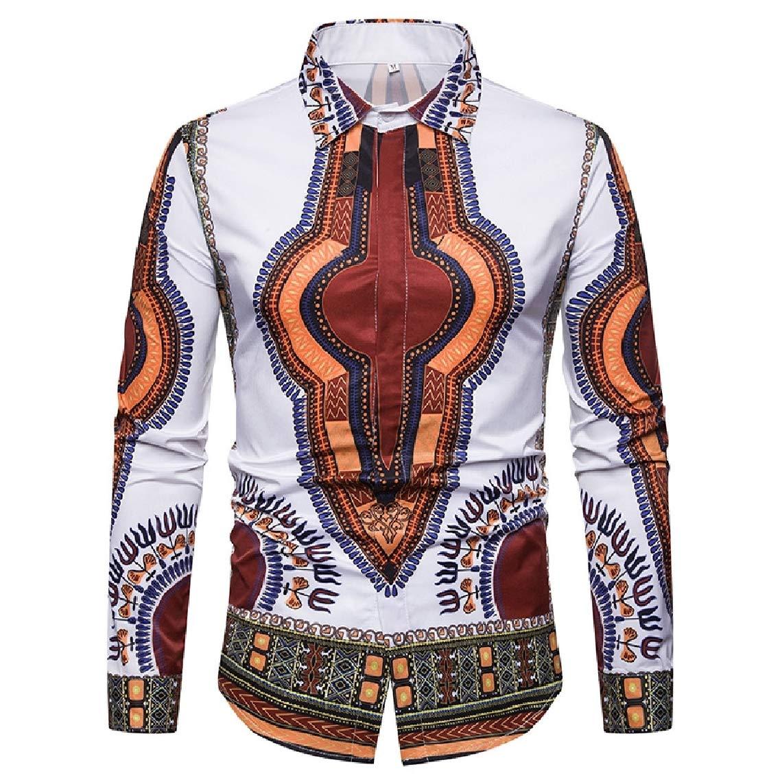 LinkShow Mens 3D Digital Printed African Long Sleeve Buttoned Work Shirt