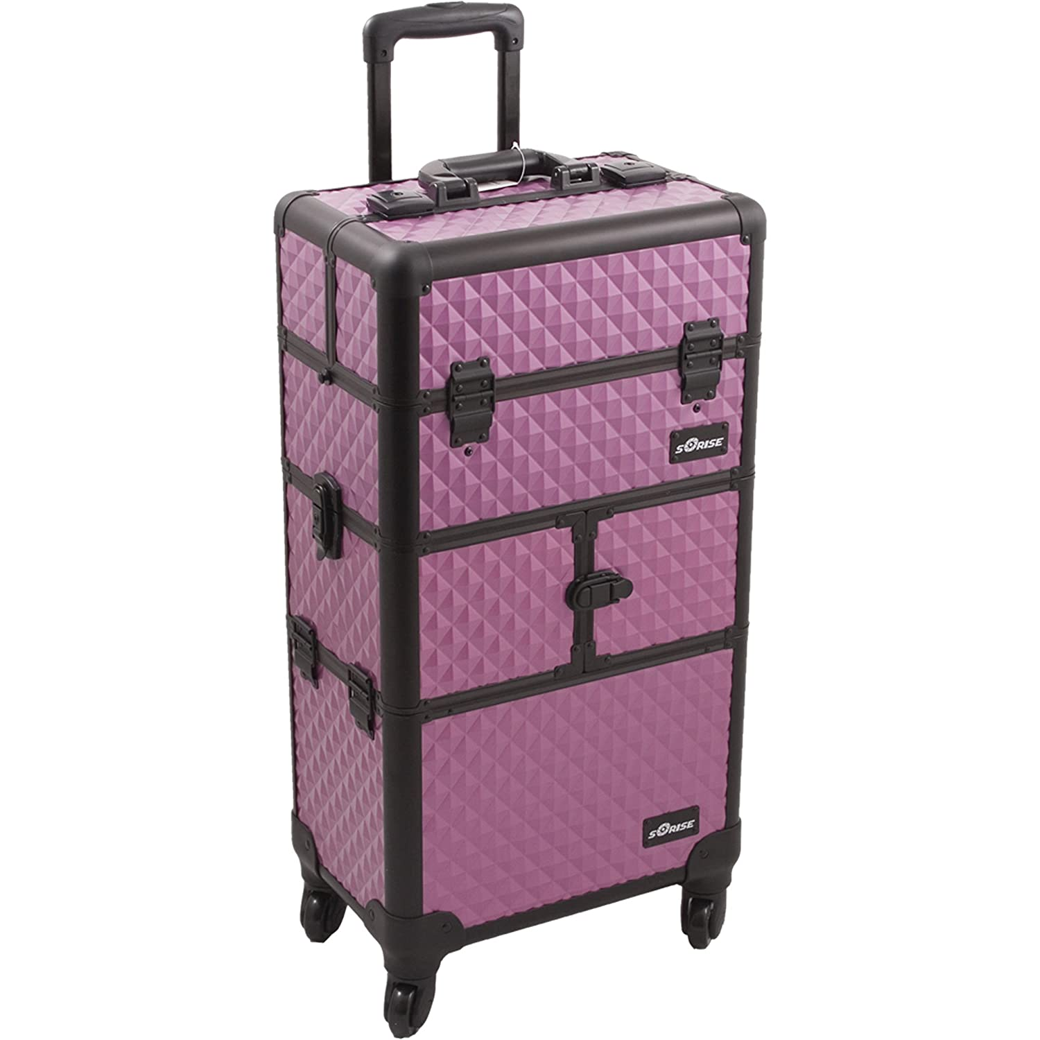 SUNRISE Makeup Case on Wheels 2 in 1 Professional Organizer I3264, 9 Trays, 4 Wheel Spinner, Adjustable Drawer Dividers, Purple Diamond