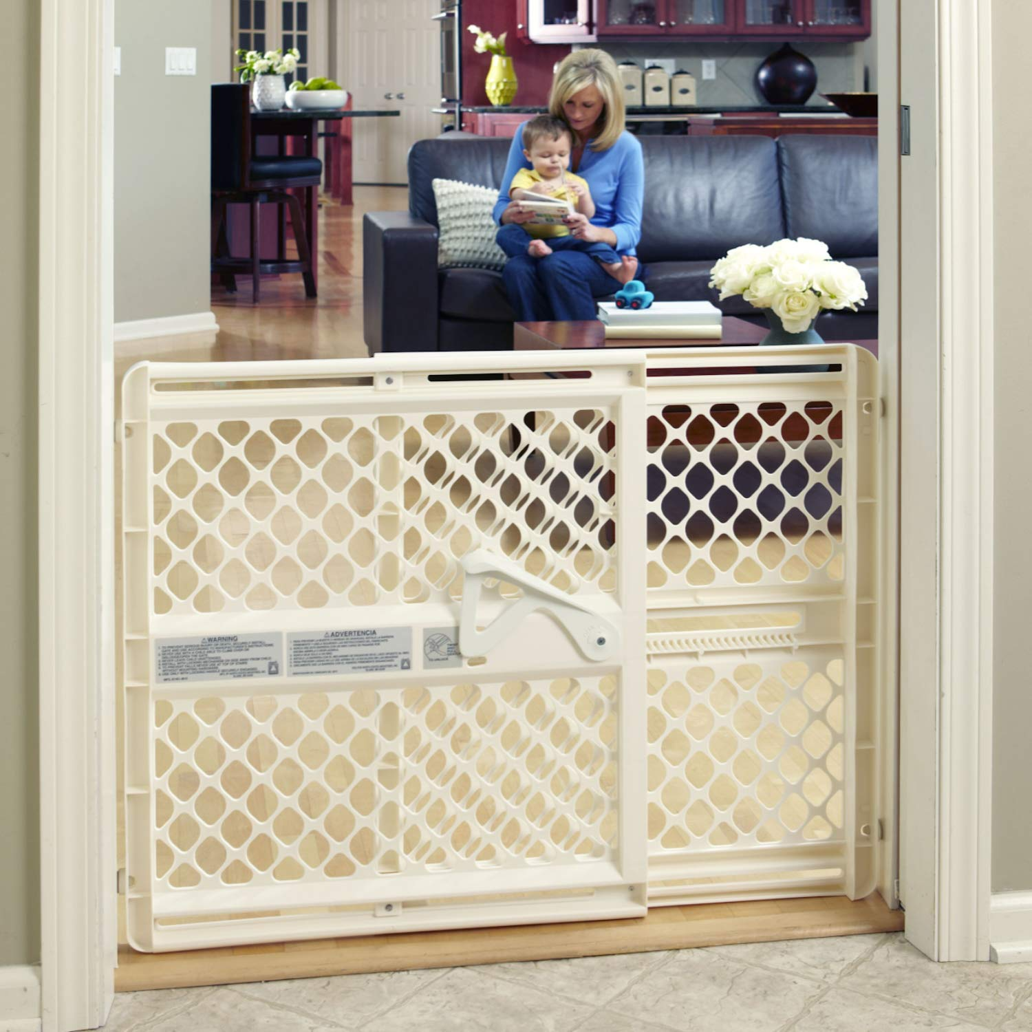 Toddleroo By North States 42 Wide Supergate Ergo Baby Gate Great For Doorways Or Stairways Includes Wall Cups For Extra Holding Power Pressure Or Hardware Mount 26 42 Wide
