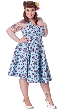 Amazon Hell Bunny Plus Size 60 Blue Victorian Tea Party Garden