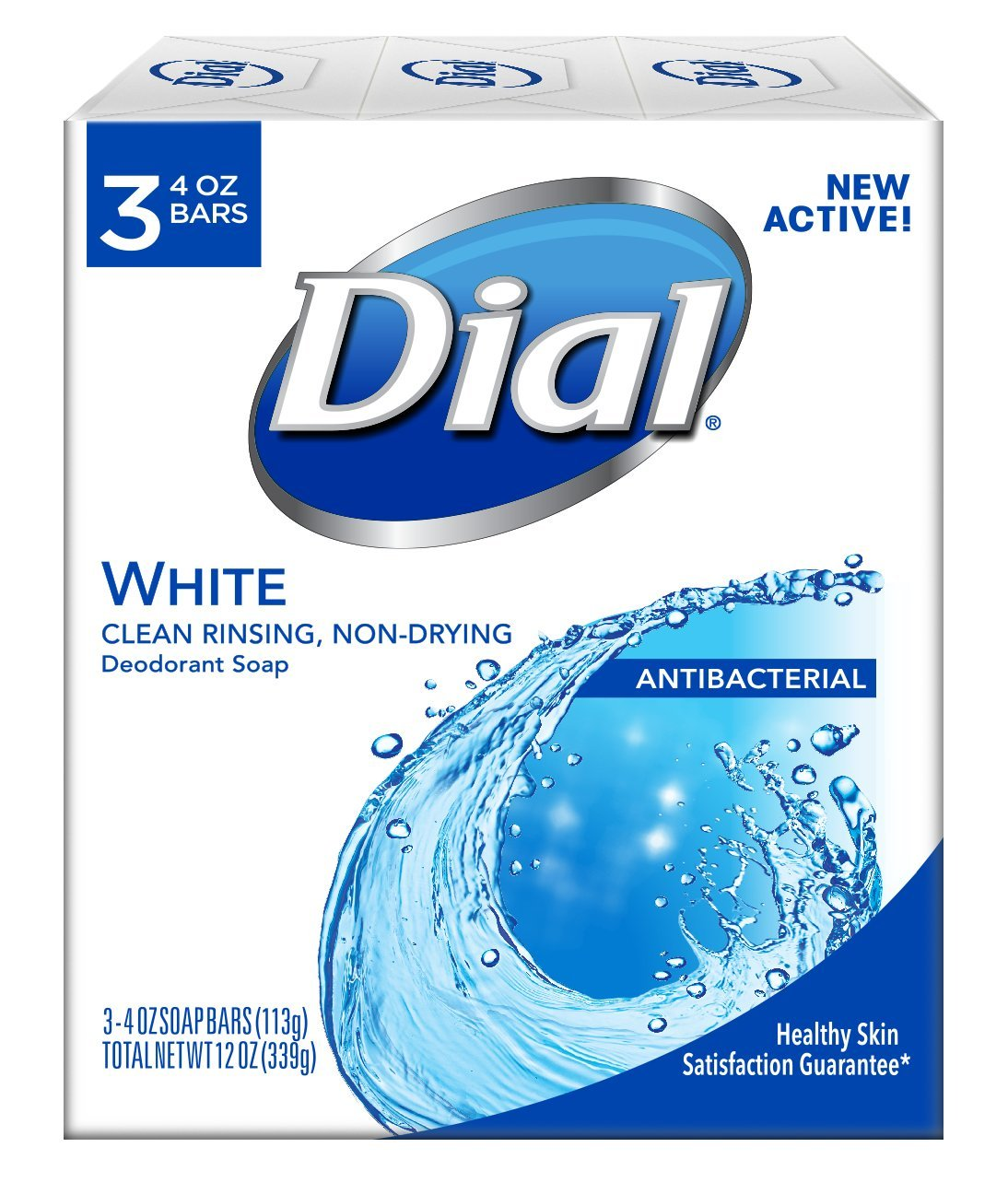 Dial Antibacterial Deodorant Soap, White, 4 Ounce (Pack of 3)Bars