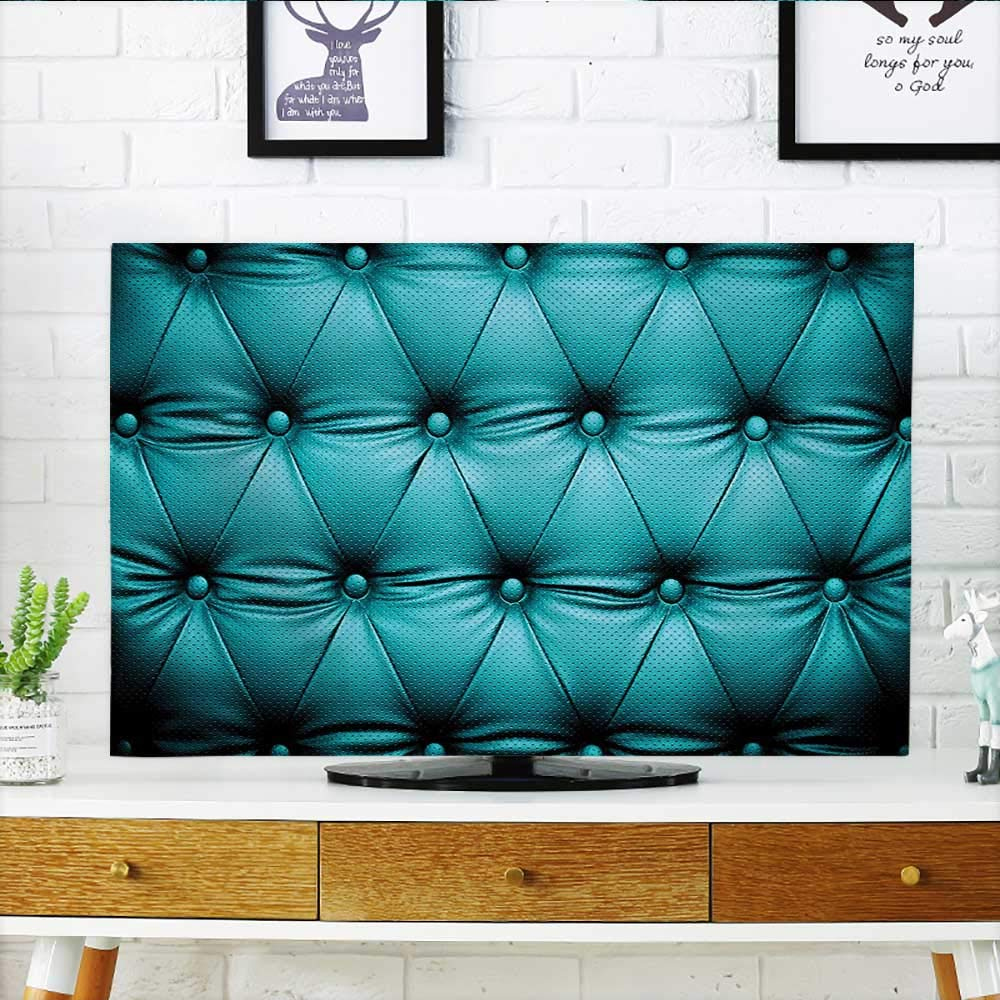 Jiahonghome Cord Cover for Wall Mounted tv Collection Buttoned Couch Sofa Bed Headboard Leather Cover Luxurious Upholstery Art Dark Teal Cover Mounted tv W32 x H51 INCH/TV 55''