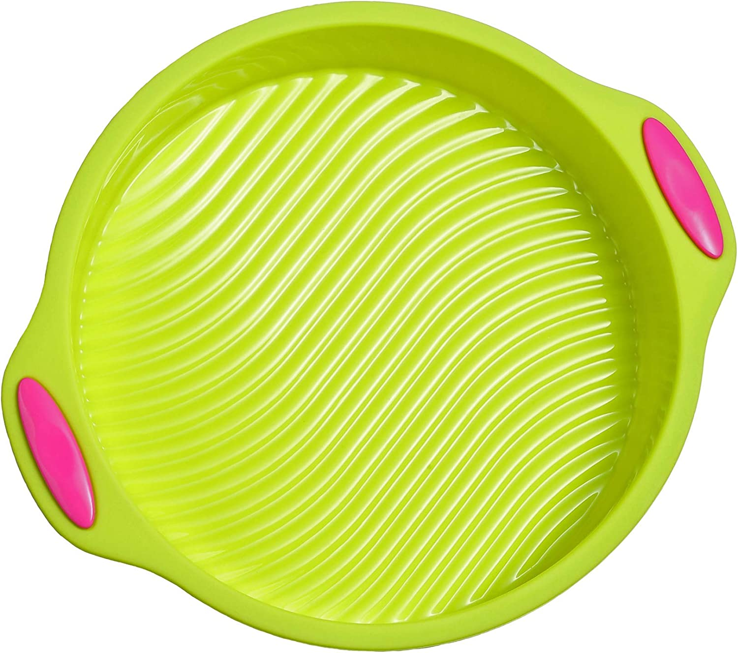 Megrocle 9-Inch Food Grade Silicone Round Cake Pan, Non Stick Reusable Large Baking Pans Silicone Cake Mold Bakeware, Green
