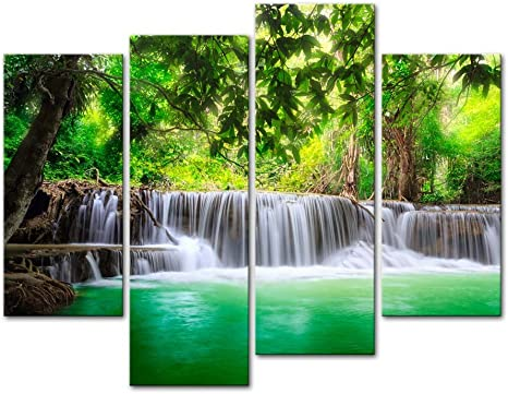 Amazon Com Wall Art Decor Poster Painting On Canvas Print Pictures 4 Pieces Thailand Waterfall Deep Forest In Kanjanaburi Huay Mae Kamin Landscape Waterfall Framed Picture For Home Decoration Living Room Artwork Posters