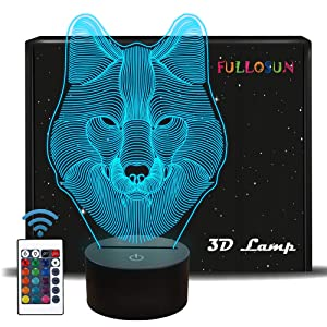FULLOSUN 3D Wolf Night Light, Optical Illusion Lamp for Home Decor & Co-Sleeping,Remote Controller with 16 Color Changing for Kids, Boys & Men