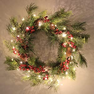 Winter Snowflake Christmas Lighted Wreath, 20 Inch Artificial Pine Cone Pine Needle Branch Red Berry Harvest Holiday Wreath for Front Door Foyers Shop Windows Fireplaces Walls New Years Decor Decor