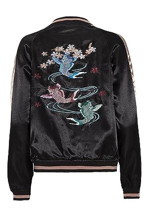 af326c170de Brave Soul Womens Dragon Guppy Print Biker MA1 Satin Bomber Jacket Blue   Amazon.co.uk  Clothing