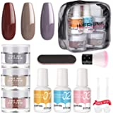 Nail Dipping Powder Kit - Dip Nail Powder System Starter Kit 3 Colors Dip Powder Nail Kit Acrylic Dip Powder Set INFELING French Nail Manicure Nail Art Set No UV/LED Lamp Needed Essential Kit with Bag
