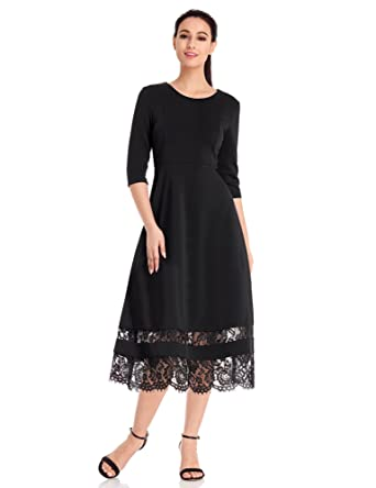 Black Tea Length Dresses with Sleeves