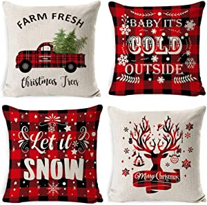 Dailyacc Christmas Pillow Covers 18x18 Set of 4 Marry Bright Throw Pillow Cases Slipcovers for Farmhouse Christmas Decor (Red CC)
