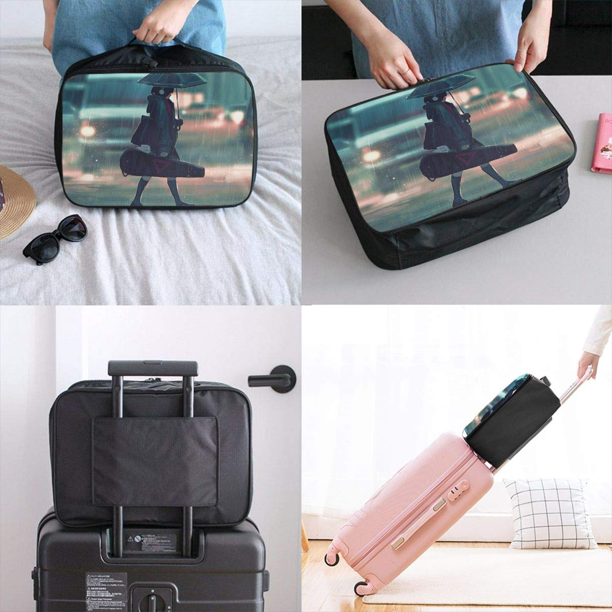 Girl Headphones Umbrella Carrying Musical Instrument Cat Customize Casual Portable Travel Bag Suitcase Storage Bag Luggage Packing Tote Bag Trolley Bag