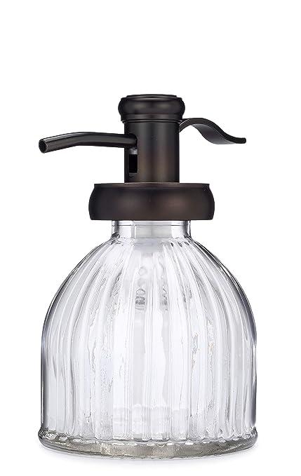 cbb3af0fba1 Small Vintage Design Fluted Glass Soap Dispenser with Antique Bronze Soap  Pump - Perfect for Liquid