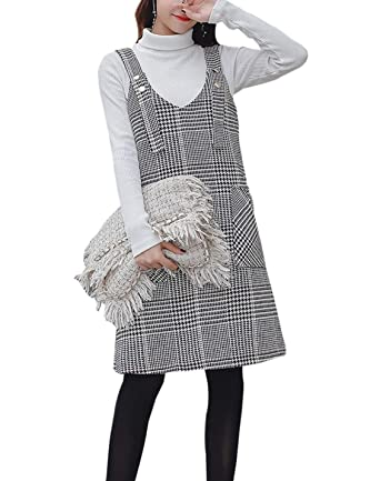 c7ee82ccbe Women s Wool Blend Suspender Skirt Overall Plaid Pinafore Dress at Amazon  Women s Clothing store