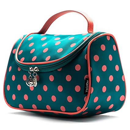 Travel Makeup Bag, Yeiotsy Cute Polka Dots Toiletry Bag with Handle for Girls Cosmetic Organizer for Women (Lake Blue)
