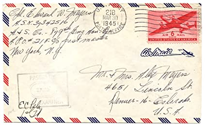 us army letter air mail postage 1945 wwii 6 cent air mail stamp