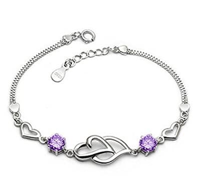 Private Twinkle 925 Sterling Silver Bracelet made with Shiny White Zirconia for Women Girls xza7JiG