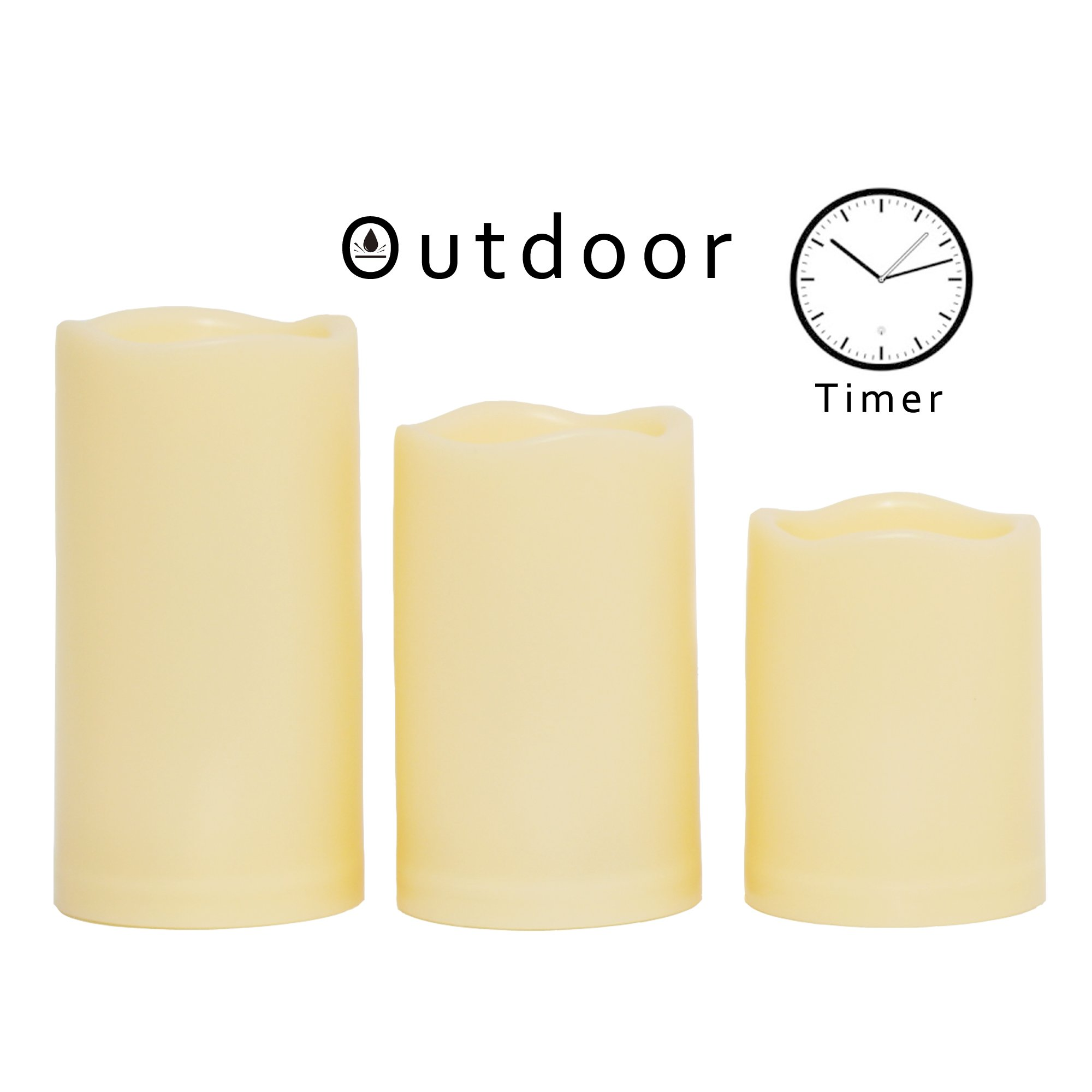 """Candle Choice 3 PCS Outdoor Flameless Candles with Timer, Realistic Flickering LED Pillar Candles, Weatherproof Battery Operated Candles, Long Battery Life 1500+ Hours, Melted Edge 3""""x4"""", 5"""", 6"""" by CANDLE CHOICE"""