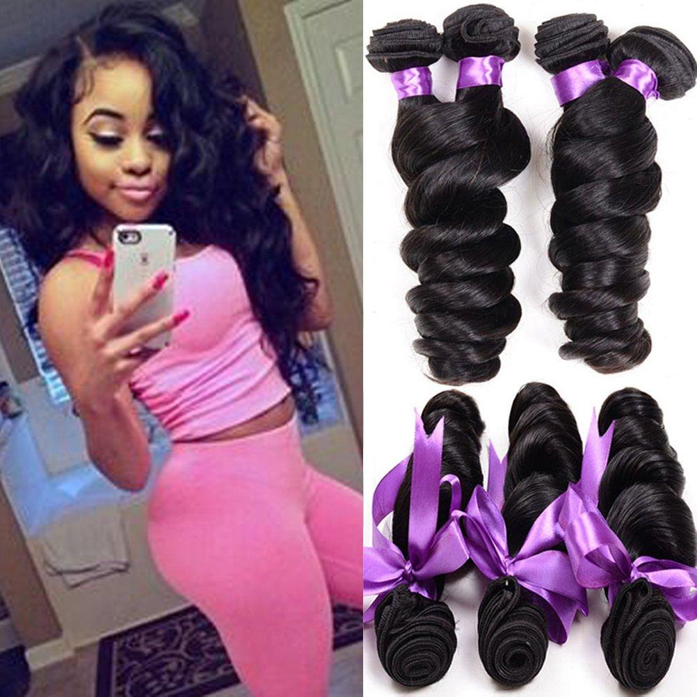 Shireen Peruvian Virgin Hair Loose Wave 3 Bundles 8A Unprocessed Loose Deep Wave Wet and Wavy Human Hair Extensions Natural Black (12 14 16inch) by Shireen Hair (Image #1)