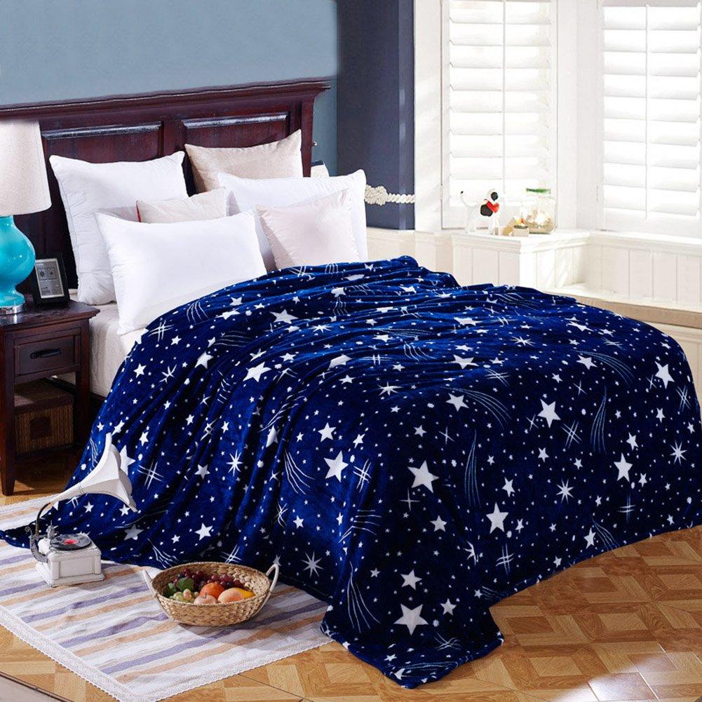 ShineMoon Manta suave y ligera, diseño de estrellas, forro polar, para cama o sofá, tamaño grande Stars Deep Blue Talla:120x200cm diseño de estrellas para cama o sofá