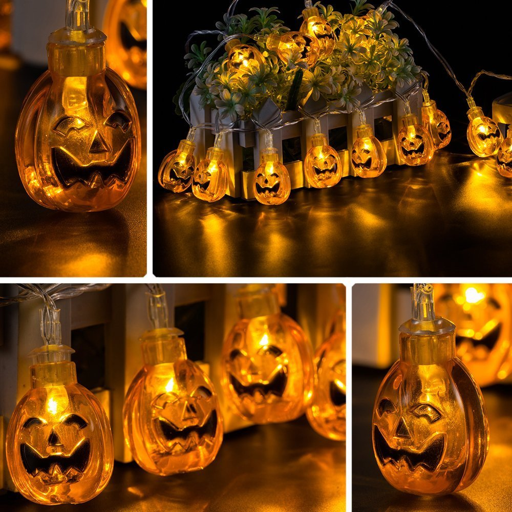 Jhua 20 Halloween Pumpkin String Lights Battery Operated LED Fairy Lights Powered by 3pcs AA Batteries For DIY Halloween/Christmas Decoration
