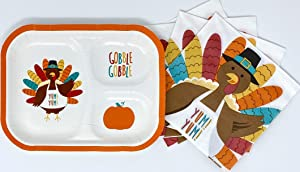 GOBBLE GOBBLE YUM! YUM! Turkey Fall Harvest Thanksgiving Holiday Luncheon Dinnerware Disposable Paper Party Supplies Set – Compartment Plates and Napkins Bundle - Service for 16