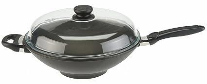 SKK Wok para cocina de inducción con tapa 32 x 11 cm