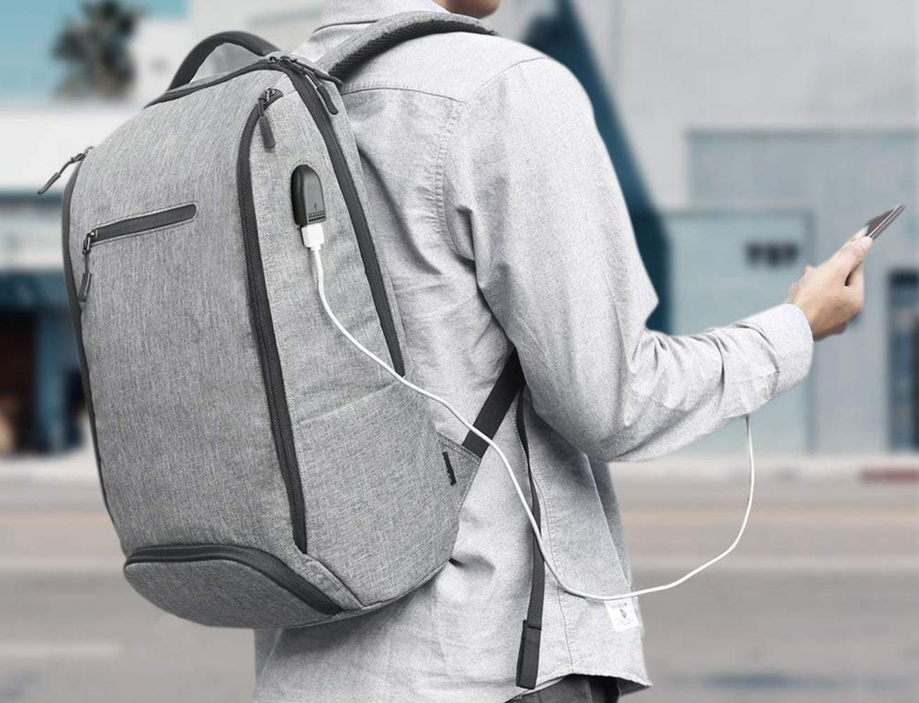 Laptop Backpack, REYLEO Backpack, Work Backpack for Man&Woman,Fits 15.6 Inch Laptop, with Shoe Compartment, External USB Charging Port, Water Resistant,Gray, Back to School Choice, RB06 by REYLEO (Image #8)