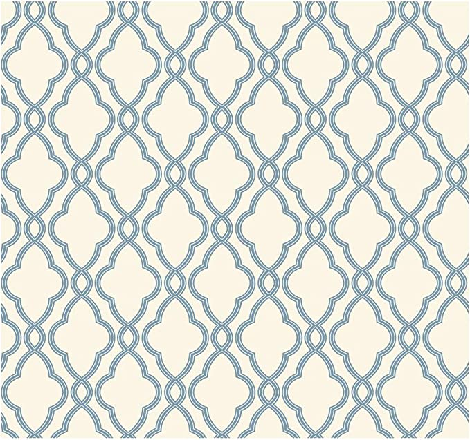 Waverly Blue Trellis Lattice on White Wallpaper WA7706